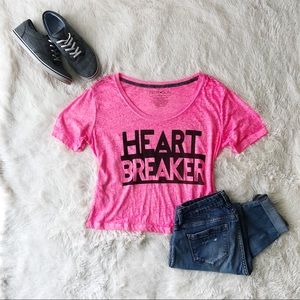Fifth Sun bright pink heartbreaker crop tee shirt
